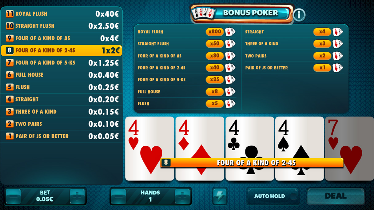 Bonus poker AIC games 30082