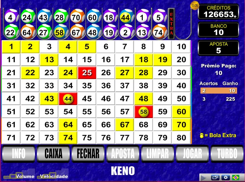 Keno draw video bingo 58438